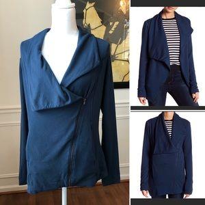 H by Bordeaux Fleece Moto Jacket Dark Blue Small